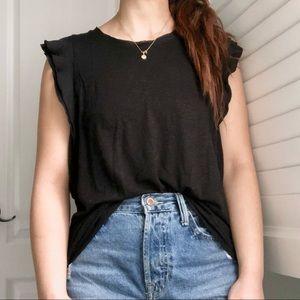 2/$15 ⭐️ GAP Black Ruffle Flutter Sleeve T-Shirt